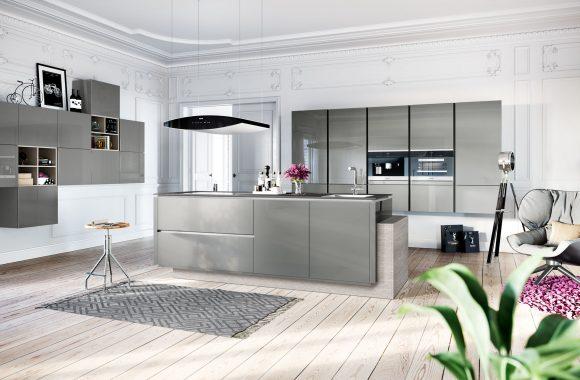 Küchenmodelle Küche Designglas Lavagrau