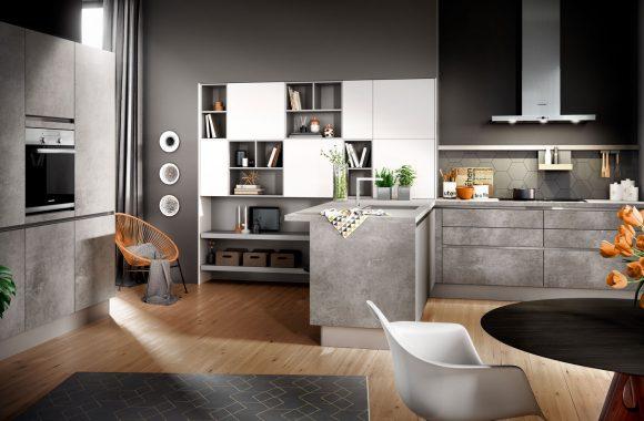 Küchenmodelle Küche Comet Spachtelbeton Perlgrau