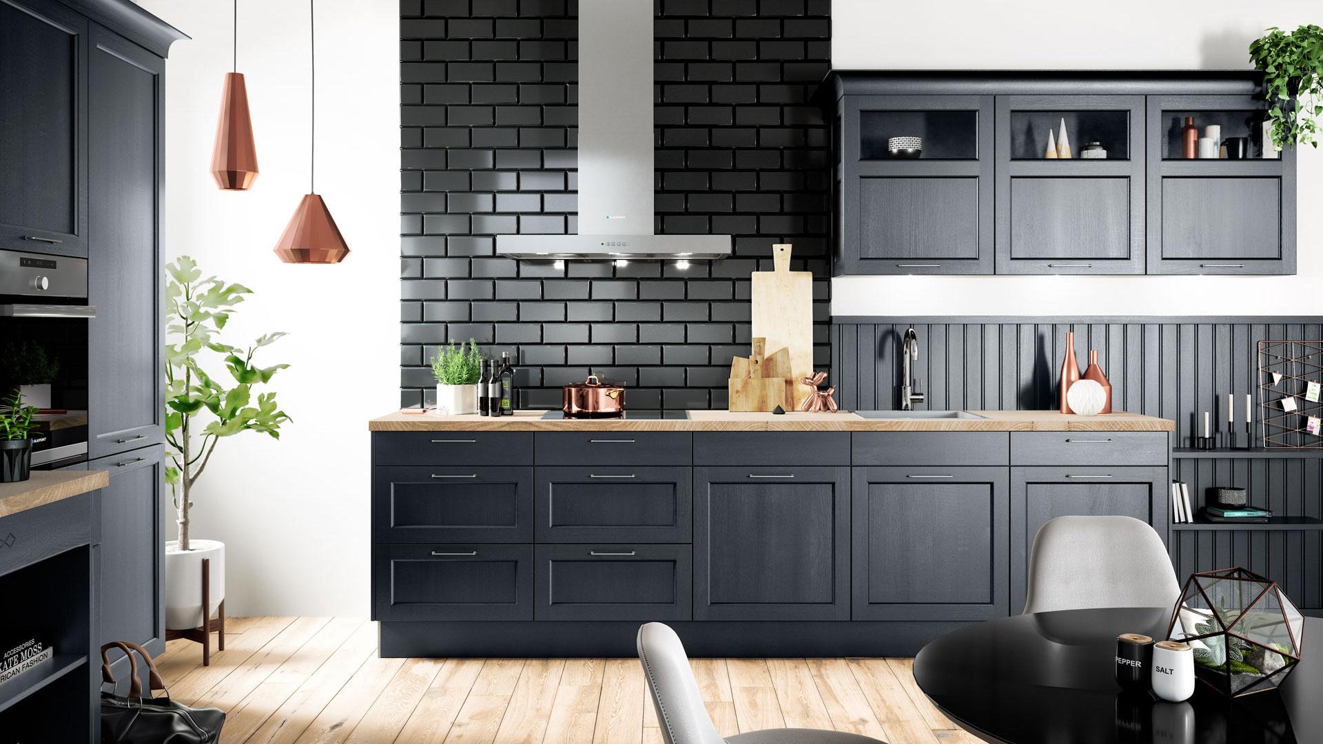 Landhausküche mit blauen Fronten und Miele Elektrogeräten bei Küchenwelt P und R in Leoben