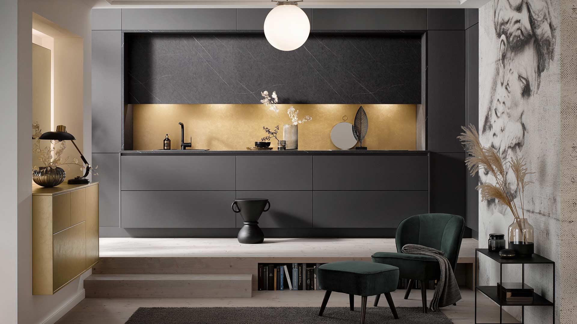 Küchentrends 2020 Häcker Antharazit und Goldlack im Miele Center P & R